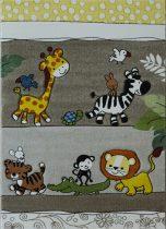Afrikai állatok bézs gyerekszőnyeg 160x230