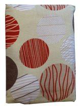 Ágynemű huzat 3 részes drapp-piros körös, FLANEL