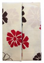 Ágynemű huzat 3 részes krém-barna-piros virágos, PAMUT