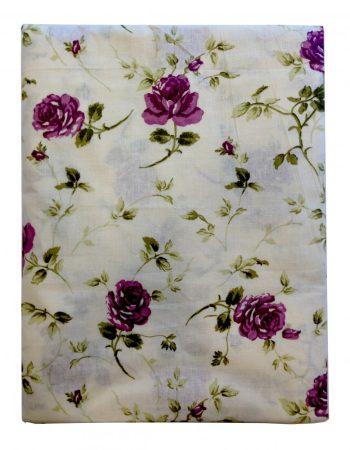 Ágynemű huzat 3 részes vajszín-lila virágos