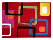 Színes piros kockás szőnyeg 200x280 cm