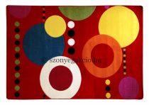 Színes piros körös pöttyös szőnyeg 200x280 cm