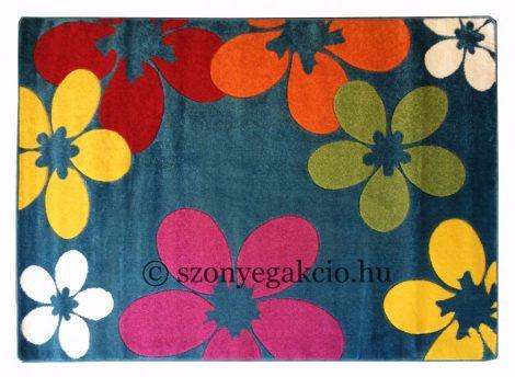 Színes kék virágos szőnyeg 160x220 cm