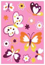 SH Bambino 2102 rózsaszínű pillangómintás gyerekszőnyeg  80x150 cm