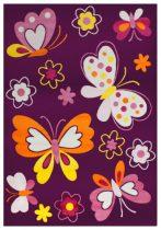 SH Bambino 2102 lila színű pillangómintás gyerekszőnyeg  80x150 cm