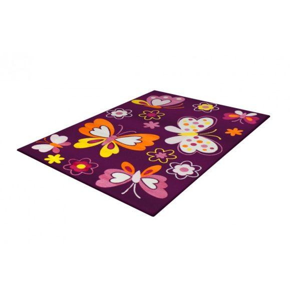 SH Bambino 2102 lila színű pillangómintás gyerekszőnyeg 120x170 cm