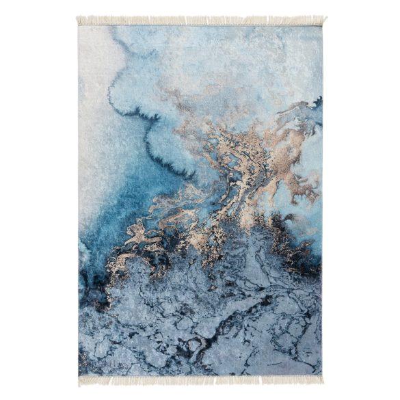 Caimas 6000 modern kék-arany márvány mintás szőnyeg  80x 150 cm