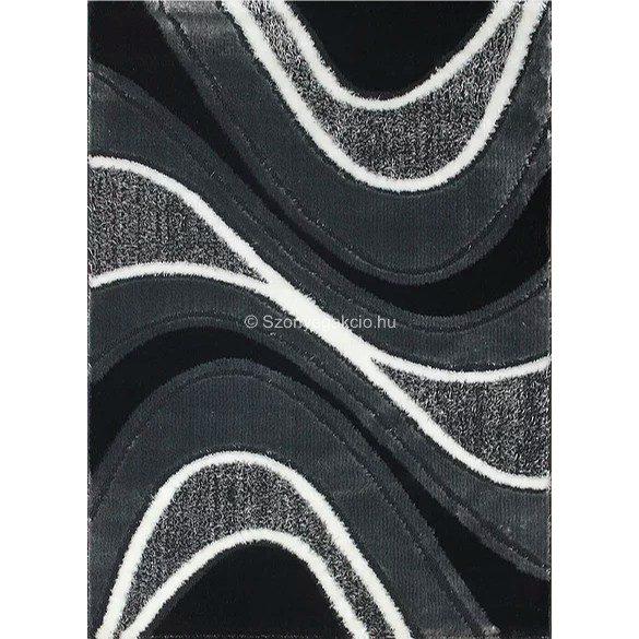 Carnaval 5569 szürke-fekete hullámos szőnyeg 120x180 cm - UTOLSÓ DARAB!