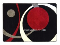 Fekete-piros két körös pöttyös szőnyeg 160x220 cm