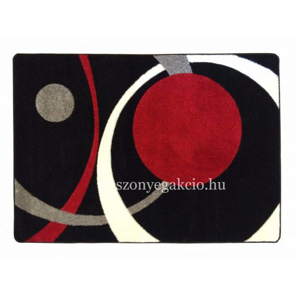 Fekete-piros két körös pöttyös szőnyeg  60x110 cm