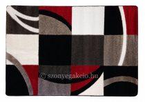 Fekete-piros kockás-vonalas szőnyeg 60x110 cm