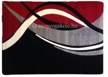 Fekete-piros modern vonalas szőnyeg 200x280 cm