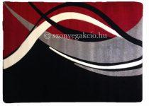 Fekete-piros modern vonalas szőnyeg  80x150 cm