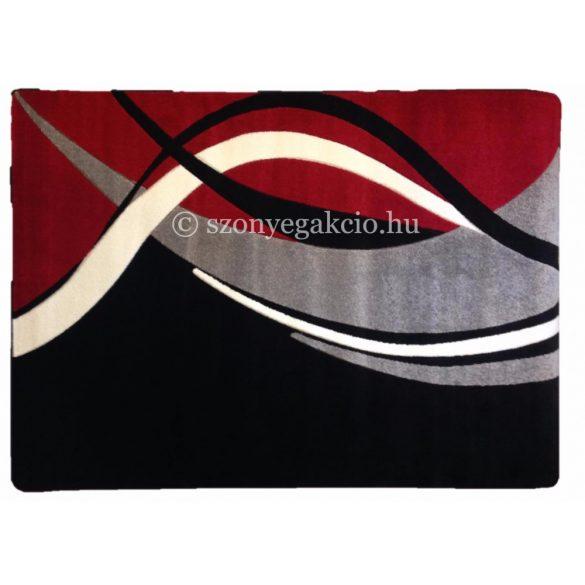 Fekete-piros modern vonalas szőnyeg  60x220 cm