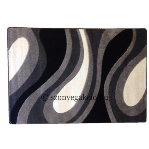 Fekete-szürke csepp/vízfolyás szőnyeg 120x170 cm