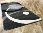 Fekete-szürke két körös pöttyös szőnyeg 120x170 cm