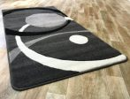 Fekete-szürke két körös pöttyös szőnyeg  80x150 cm