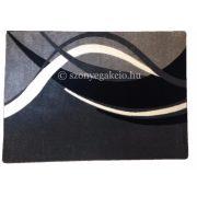 Fekete-szürke modern vonalas szőnyeg  80x150 cm