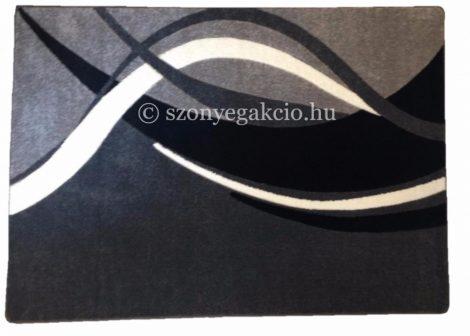 Fekete-szürke modern vonalas szőnyeg  60x220 cm