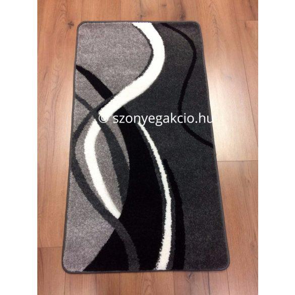 Fekete-szürke modern vonalas szőnyeg  60x110 cm