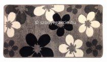 Fekete-szürke virágos szőnyeg  60x110 cm