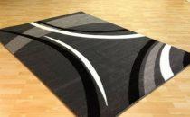 Fekete-szürke vonalas szőnyeg  60x110 cm