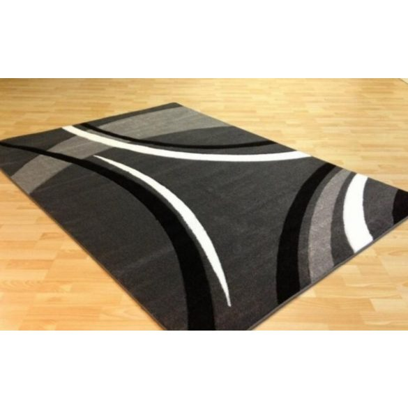 Fekete-szürke vonalas szőnyeg 160x220 cm
