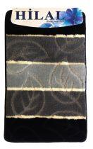 Fürdőszobaszőnyeg fekete-szürke leveles 2 db-os 80x50 cm
