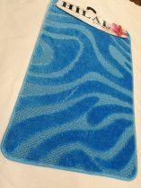 Fürdőszobaszőnyeg türkizkék hullámos 2 db-os 50x80 cm