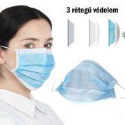 Orvosi maszk, gumis, három rétegű - Jelenleg fehér színben kapható