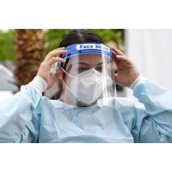 Plexi arcvédő pajzs (homlokpántos / fejpántos átlátszó pleximaszk)