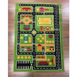 SH Autópálya mintás zöld színű szőnyeg 200x290 cm RK 1531 közlekedéses