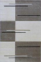 Trend 7423 bézs vonalkás-kockás szőnyeg 160x230 cm