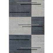 Trend 7423 szürke vonalkás-kockás szőnyeg  80x150 cm