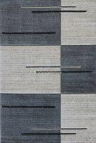 Trend 7423 szürke vonalkás-kockás szőnyeg 160x230 cm
