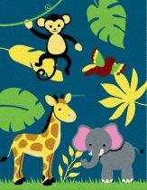 Trendy Kids Kék dzsungel állatai D231A gyerekszőnyeg 280x360 cm